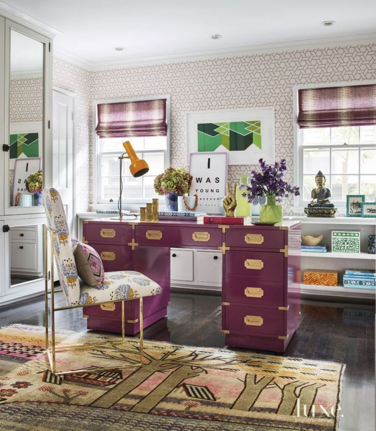 Eclectic Pink Home Office Desk   Luxe Interiors + Design