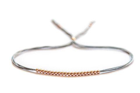 14k rose gold beaded friendship bracelet