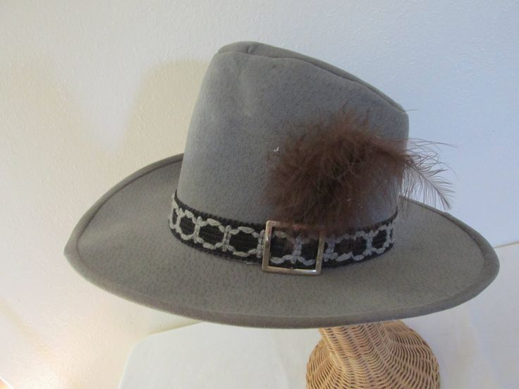 Bailey Hat Western Cowboy Hat U-Roll Style Gray with Brown Feather by LuRuUniques on Etsy