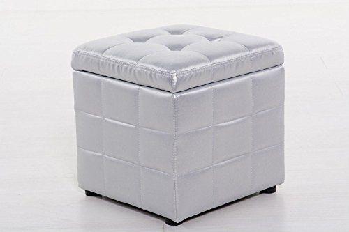 AVANTI TRENDSTORE - Pouf a forma di cubo apribile. Argentato trapuntato in Ecopelle ca.40x42x40 cm: Amazon.it: Casa e cucina