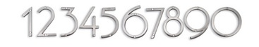 """This cool, deco-inspired font just might bring more friends and packages to your door. Contemporary house numbers in solid zinc with a polished finish are designed to be read from a distance. Depending on preference, numbers can lie flat or can be raised for extra impact. Coordinate with the """"sausalito"""" doorbell and knocker. Mounting hardware included. The size of each number slightly varies for interest. It is possible that this item will rust if placed near salt water, polish daily to…"""