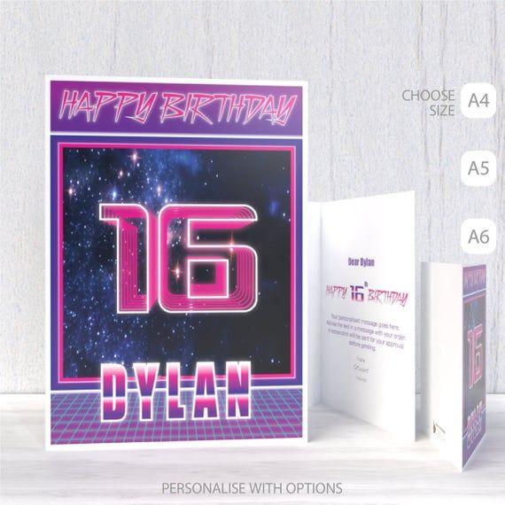 Personalised 16th Birthday Card For Boy Son Brother Friend Etsy Birthday Cards For Boys 16th Birthday Card 18th Birthday Cards