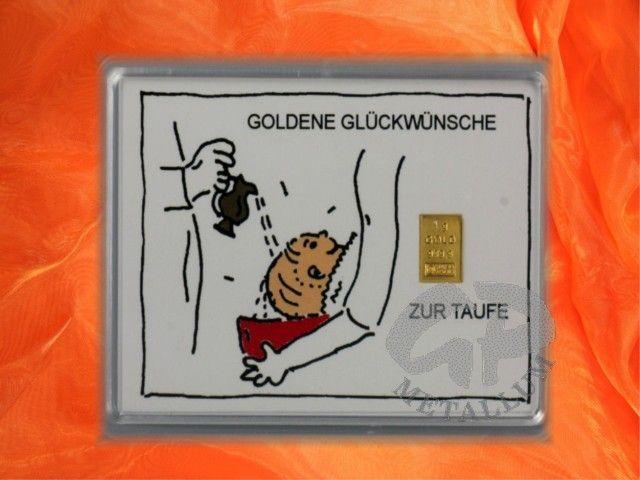 Geschenkbarren Zur Taufe mit 1g Goldbarren http://www.gp-metallum.de/1-Gramm-Gold-Geschenkbarren-Motiv-Zur-Taufe