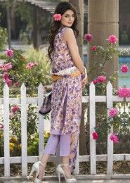 Party Wear Purple Cotton Printed Straight Suit