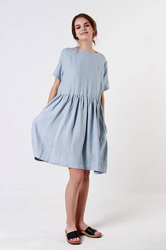 Linen Dress, Bluish Grey Linen Dress, Ruffle Waist Linen Dress, Linen Dresses for woman, Linen Summer Dress, Linen Tunic Dress – Elli Rieber