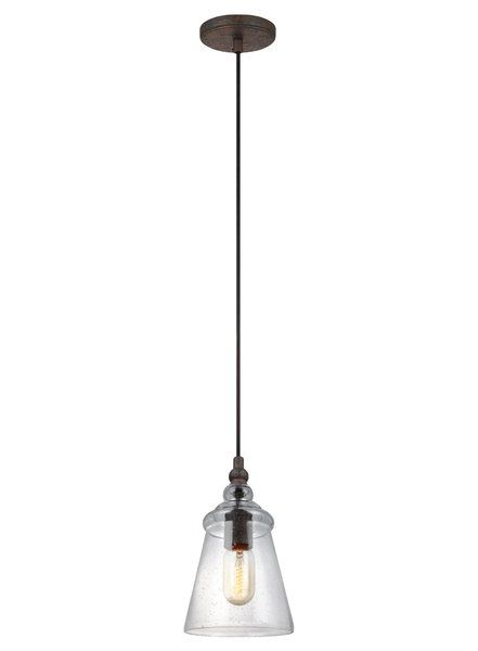 This 1 Light Mini Pendant enhances the beauty of your home with ample light and style to match today's trends. This collection is a contemporary take on historic industrial designs. Clear seeded glass shades add more rustic charm to this vintage-inspired silhouette and the black fabric cord adds a clean contemporary design feature to create contrast and updates the look. Through the clear glass shades, the exposed bulbs are central to the design theme so edison-style bulbs are a perfect c...