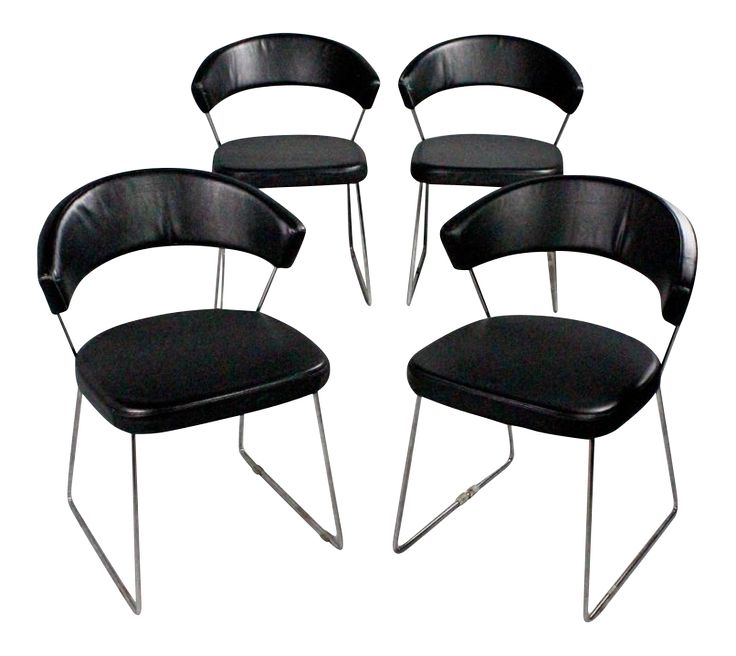 Calligaris Black Leather Dining Chairs - Set of 4 on Chairish.com