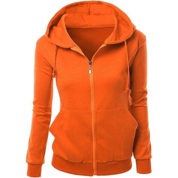 Xpril Women's Basic Long Sleeve Zip Up Hoodie in Colors ($31) ❤ liked on Polyvore featuring tops, hoodies, sweaters, hooded pullover, zip up hoodie, orange zip up hoodie, zip up hoodies and orange hooded sweatshirt