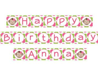 DIY  Girl Mod Monkey Birthday Cupcake Toppers Coordinating