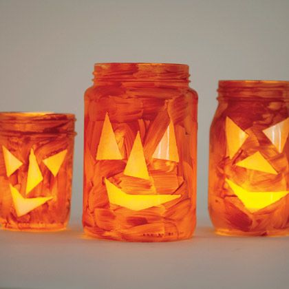 Jar-o'-lanternsKids Halloween Crafts, Teas Lights, Kids Crafts, Masks Tape, Jack O' Lanterns, Easy Halloween, Mason Jars, Tea Lights, Masking Tape