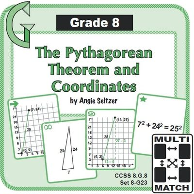 Grade 8 Multi-Match Game Cards for The Pythagorean Theorem and Coordinates: These cards provide fun practice for finding the distance between two points on a grid (CCSS 8.G.8, 6.NS.8). Cards also focus on 8 different Pythagorean triples. ~by Angie Seltzer