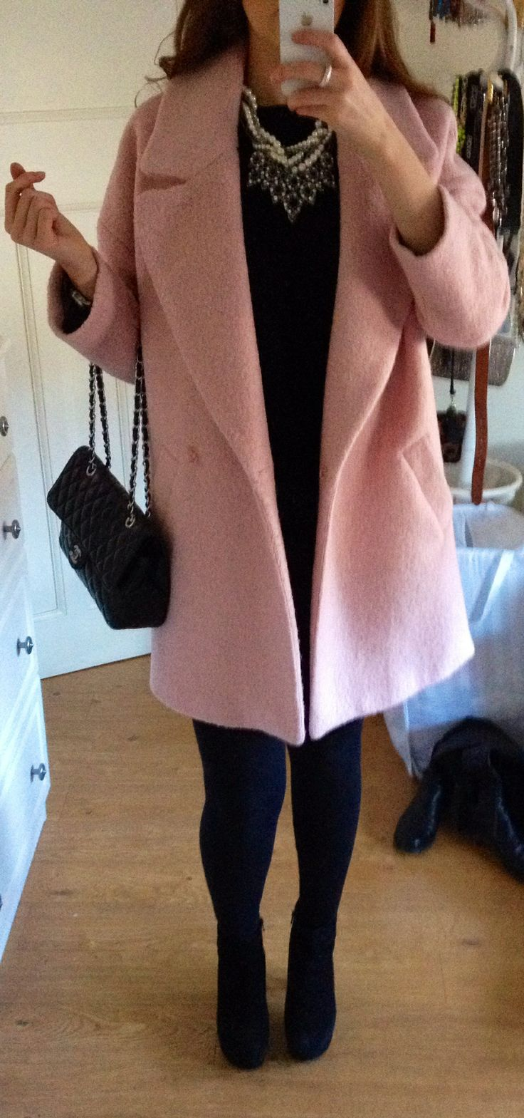 River Island pink coat - Zara statement necklace - Cos dress - Dune boots