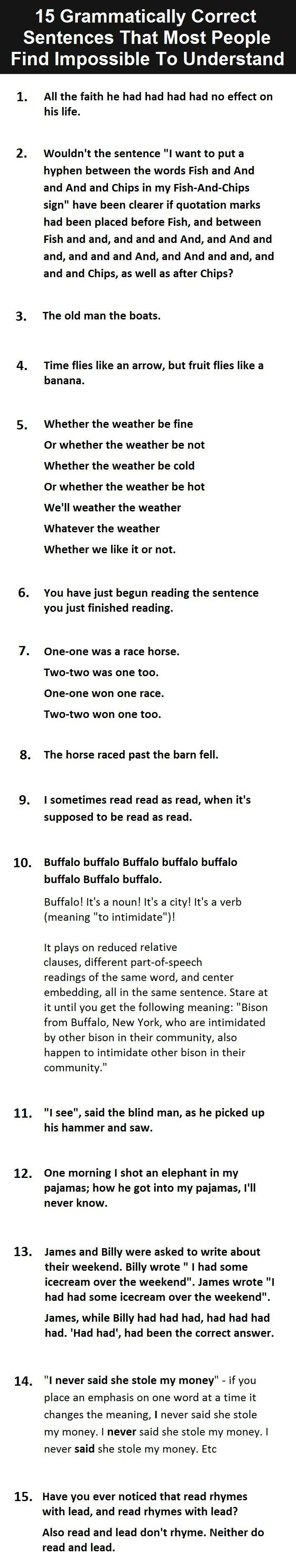 15 grammatically correct sentences that people find impossible to understand.