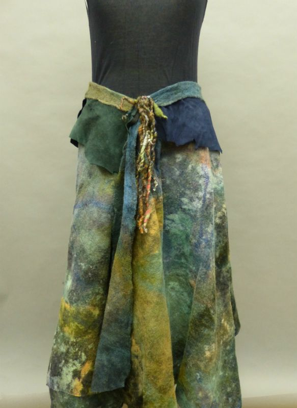 Nuno felted Wrap skirt in Muted greens | a Mano Studios