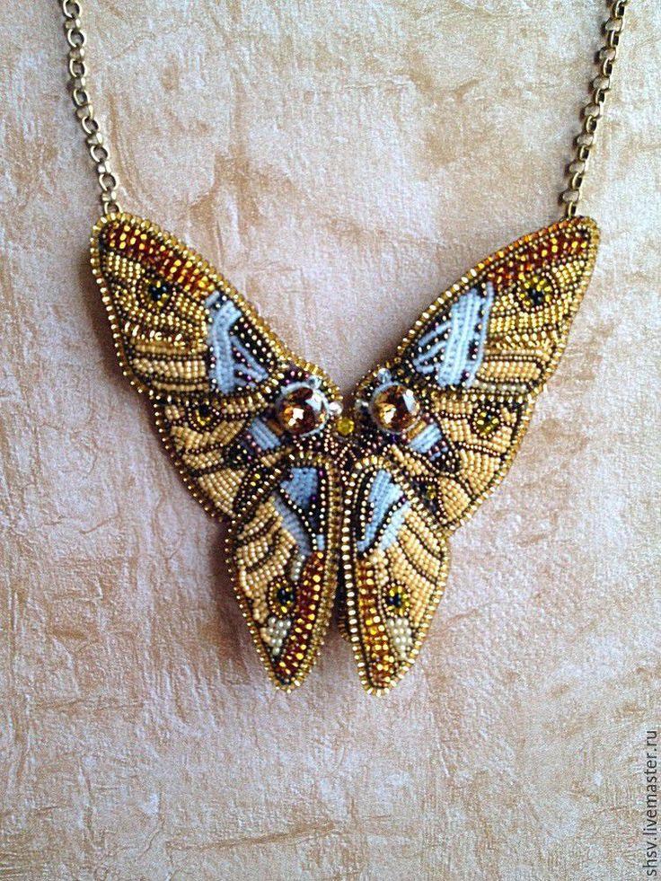 """Купить Колье """"Бабочки"""" - золотой, оранжевый, теплые оттенки, золотистое, на выпускной, на свадьбу, на День рождения"""