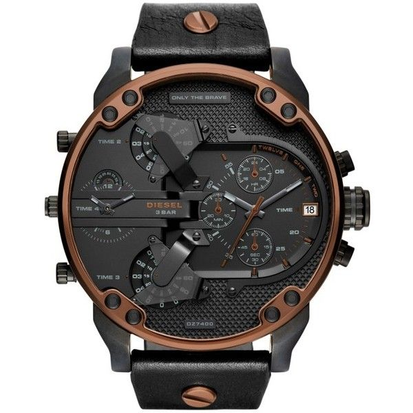 Diesel Mr. Daddy 2.0 Chronograph Leather Strap Watch, 57Mm ($329) ❤ liked on Polyvore featuring jewelry, watches, leather-strap watches, chronos watch, rugged watches, chronograph wrist watch and diesel watches