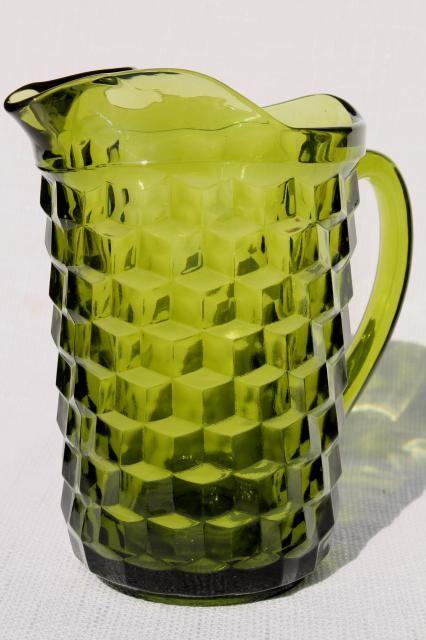 vintage Colony glass Whitehall pattern avocado green glass pitcher