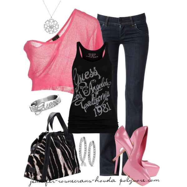 guess/pink, created by jennifer-rosencrans-hovda on Polyvore