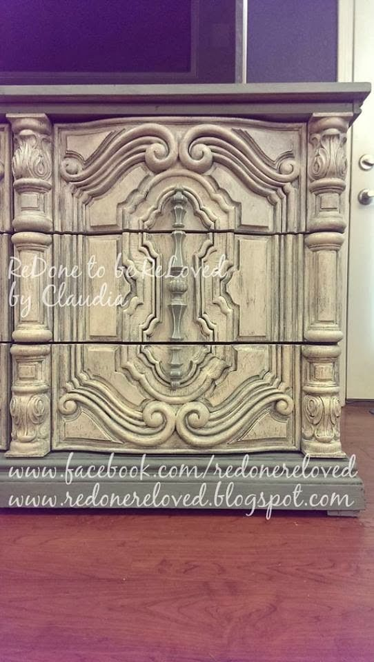 ReDone To Be ReLoved: 70s Mediterranean Dresser Makeover Using Mica Powders ~ The Beautiful Beast