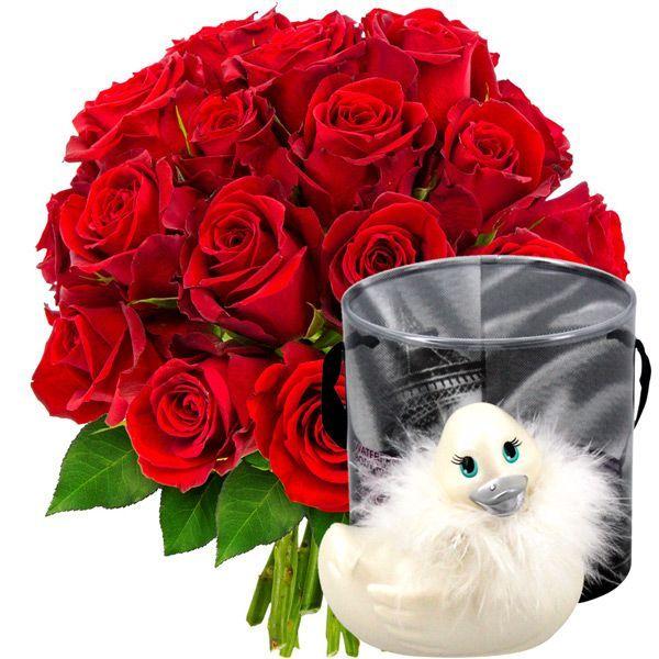20 Roses Rouges Canard Vibrant Florajet Com Roses Rouges