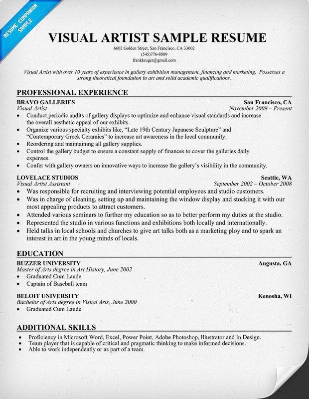Visual Artist Resume Resumecompanion Com Resume Samples Across