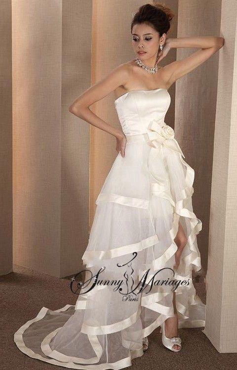 robe de mariee bustier longue et courte,  deux en un, robe de mariee originale, robe de mariee transformable 3