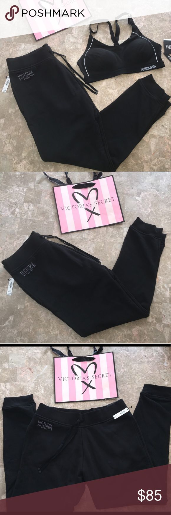 NWT Victoria's Secret Sport bundle (2) NWT Victoria's Secret Sport items: includes 1 sport bra. Size 36 B sister size 34C. Can fit medium top. Adjustable straps. Body wick technology designed to keep you cool and dry when working out while looking your best! 💪🏼💁🏻♀️. Also includes 1 pair of VS sport pants. Cotton polyester mix. Size small. Full length pegged at bottom. Both black Victoria's Secret Intimates & Sleepwear Bras