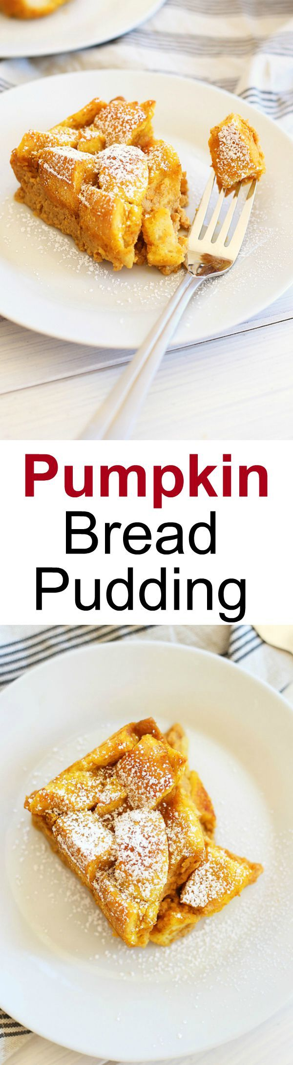 Pumpkin Bread Pudding – turn leftover bread into this amazing and seasonal dessert loaded with pumpkin spice and egg custard, so good! | rasamalaysia.com