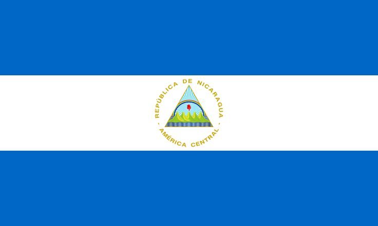 Esta es la bandera de Nicaragua. Tiene azul y blanco. El nombre completo es La Republica de Nicaragua.