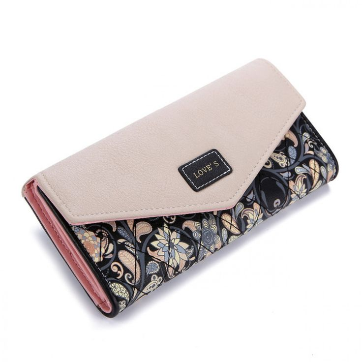 2017 New Fashion Envelope Women Wallet Hit Color 3Fold Flowers Printing 5Colors PU Leather Wallet  Long Ladies Clutch Coin Purse