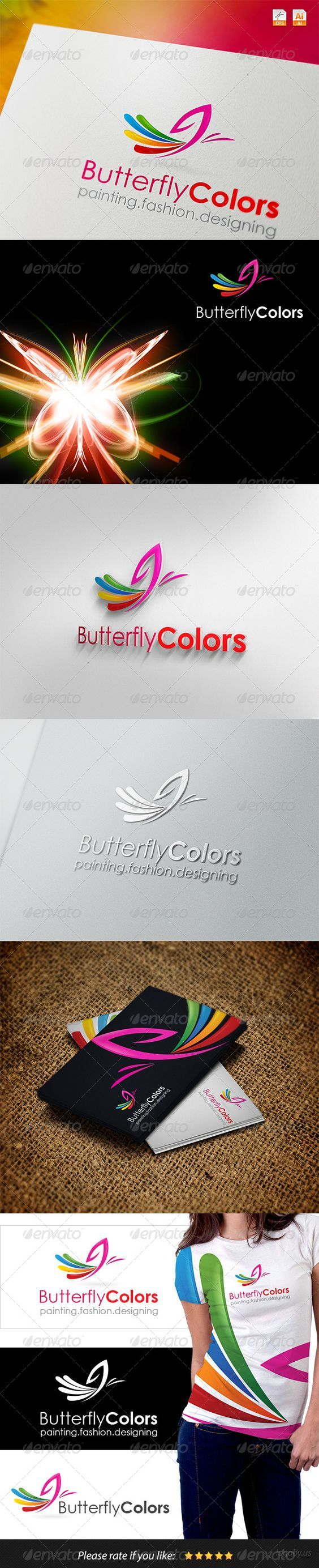 Logotype butterfly and letter b in different colour variants on a - Butterfly Colors Logo