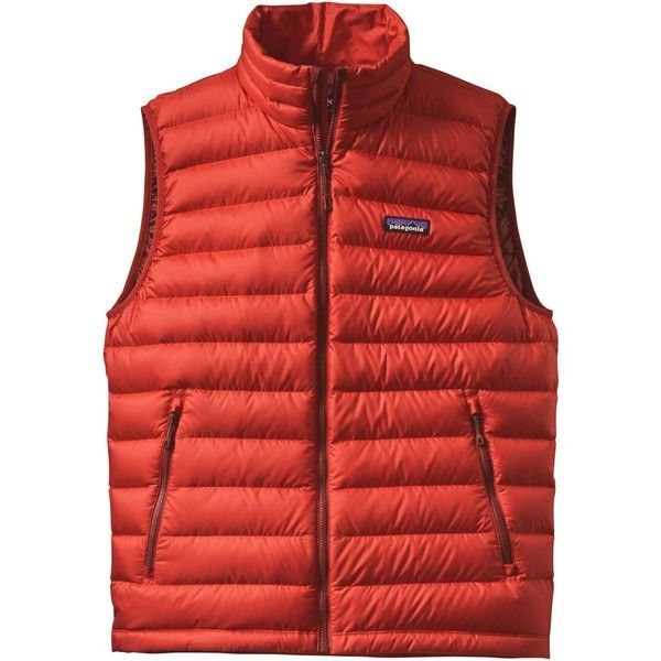 Patagonia Down Sweater Vest (€98) ❤ liked on Polyvore featuring men's fashion, men's clothing, men's outerwear, men's vests, mens insulated vest, mens green vest, mens zip sweater vest, patagonia mens vest and mens sweater vest