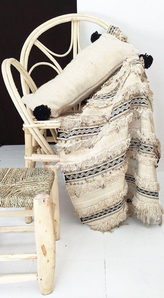 Handira Vintage Moroccan Wedding Blanket small por lacasadecoto