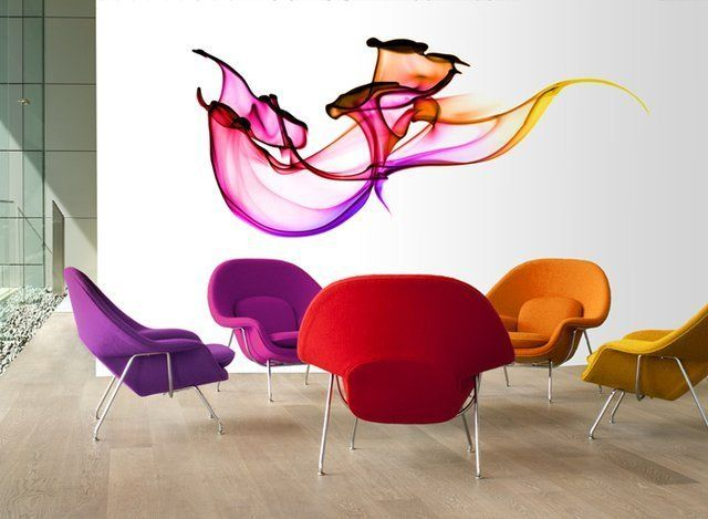 very cool wall decoration idea, for the right space.  Fancy - Swirling Dyes by Wallflower