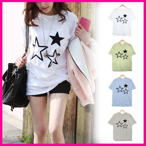 ファッション通販SHOPLIST.com ★スリスター・星柄プリントtシャツ★tシャツ レディース 半袖、ラグランtシャツ 半袖、袖バイカラ―tシャツ、ロゴ、無地、シンプルカットソー半袖,プリントtシャツ,ロゴT,BOXロゴ,そでまくり,ビッグT