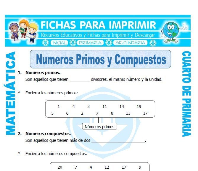 Ficha De Numeros Primos Y Compuestos Para Cuarto De Primaria Números Primos Ejercicios De Numeros Multiplos Y Divisores