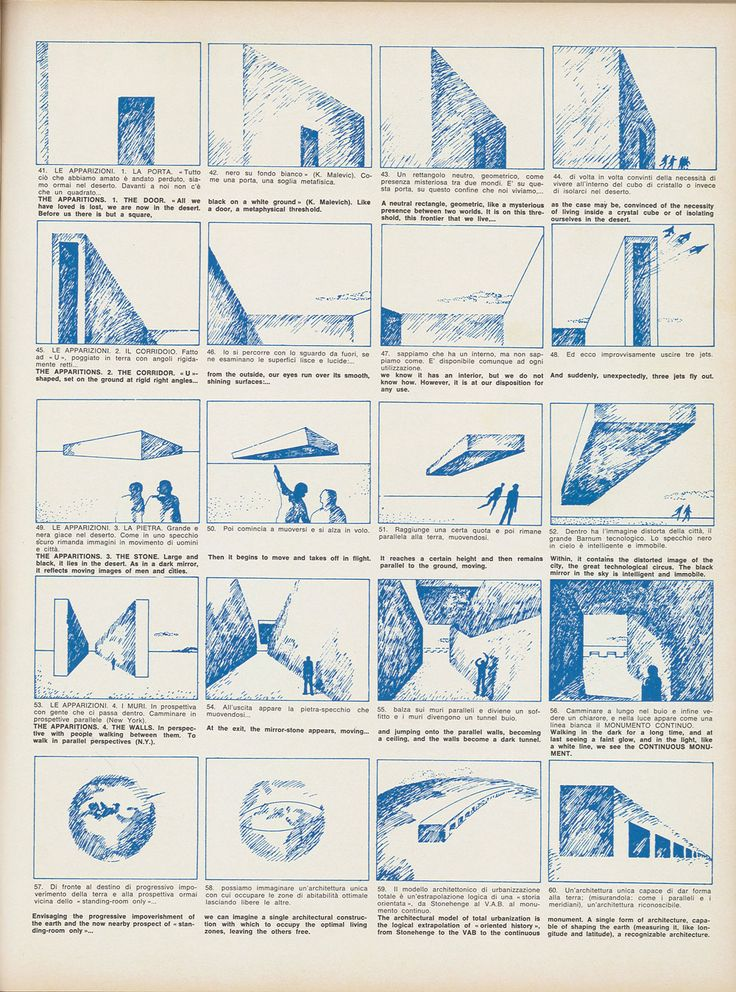 """Superstudio, Story board for the film on the Continuous Monument, """"Casabella""""…"""