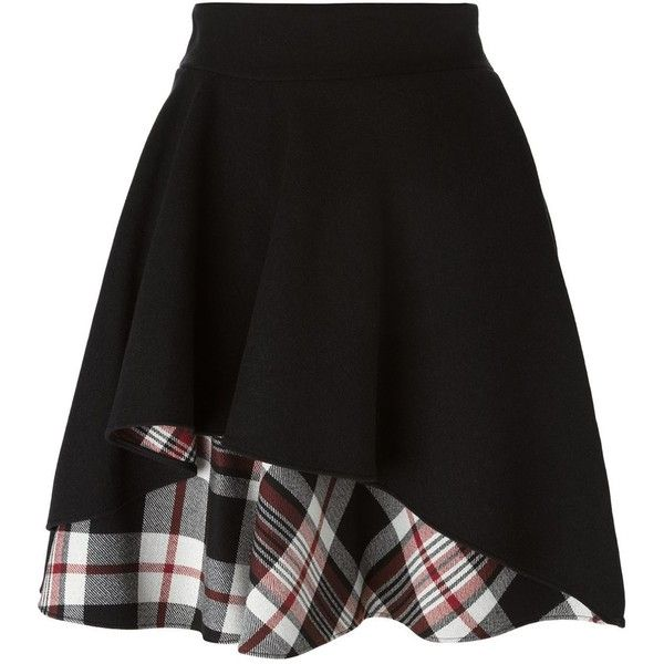 Alexander McQueen Ruffled a-Line Skirt (£415) ❤ liked on Polyvore featuring skirts, bottoms, alexander mcqueen, gonne, black, a line plaid skirt, ruffle skirt, tartan skirt and frilly skirts