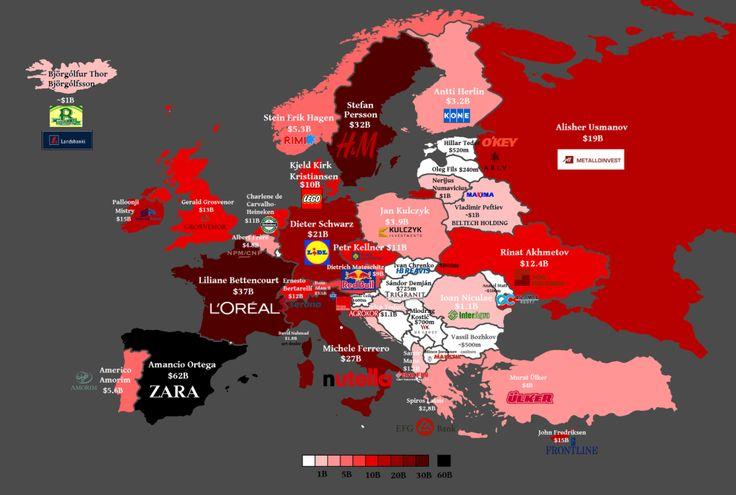¿Quién es la persona más rica de cada país? | 28 mapas con los que verás Europa de una manera diferente