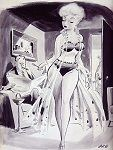 Jack Cole - Vintage Pinup Girl Comics - CAPTION: Please dear, it's Sunday, stop parading around, giving me Saturday night ideas!