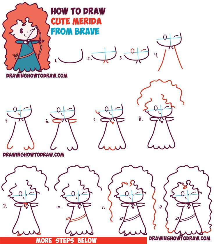 How to Draw Cute Kawaii Chibi Merida from Disney Pixar's Brave in Easy Step by Step Drawing Tutorial for Kids