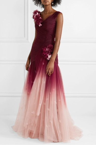 1cf8828b GABRIELLE'S AMAZING FANTASY CLOSET | Marchesa's Ruby Ombre Gown is cut from  Swaths of Tulle that fade from Merlot to Pastel Pink. It has a V-Neckline,  ...