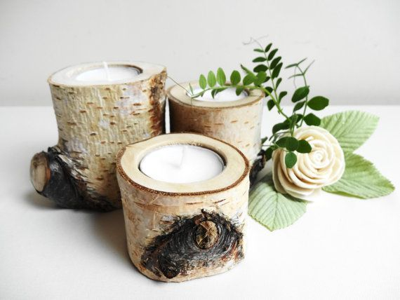 Rustic Candle Holders Birch Candle Holders Log by DaliasWoodland