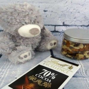 This pressie pack includes a gorgeous fluffy teddy bear, a jar of yummy nuts and a bar of luxury chocolate.  http://littlepressie.com.au/store/teddy-nutty-choc-combo/