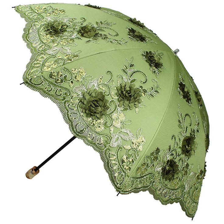 Amazon.com: Sunny World Ladies UV Protected Parasol Two Folding Anti-UV Sun Umbrella Fashion Lace Embroidery 3D Flowers (Pink): Patio, Lawn & Garden