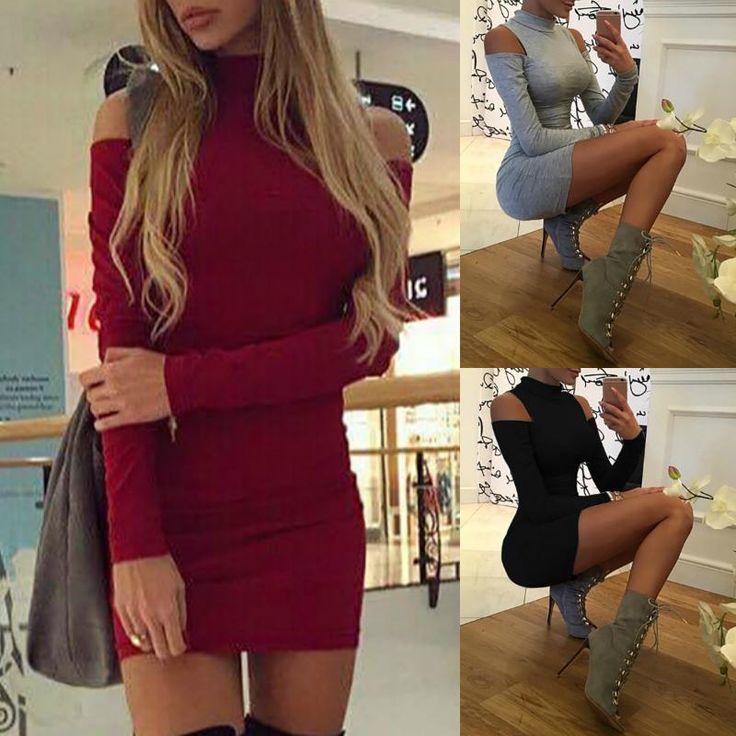 Sexy Long Sleeve  Open Shoulder Bodycon Dress
