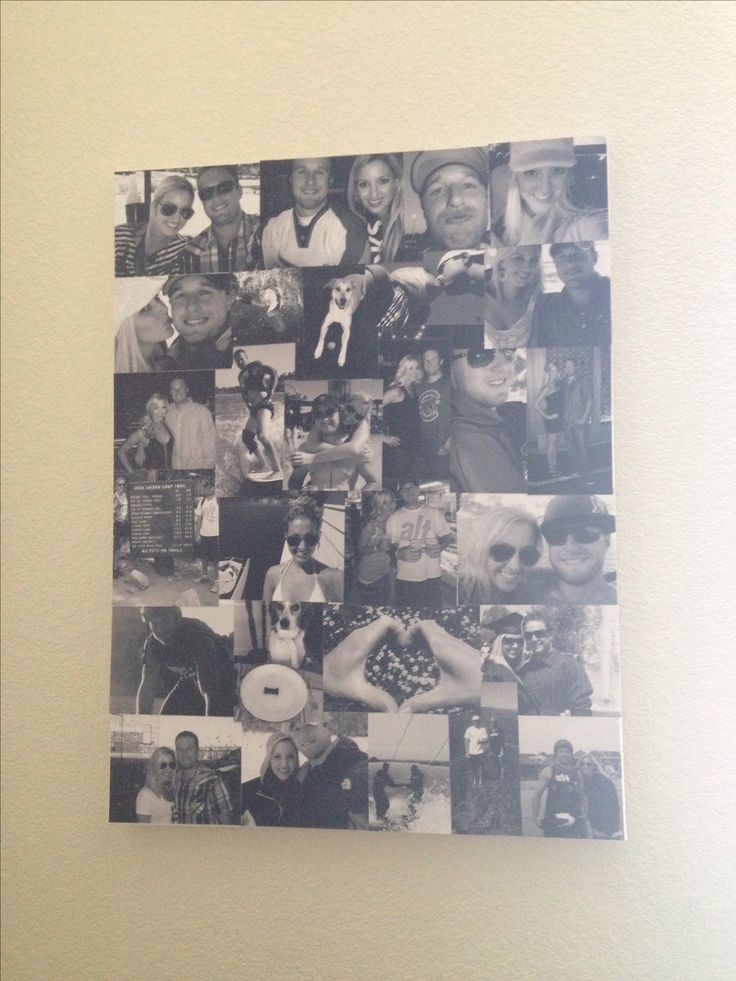 DIY photo collage on canvas using mod podge