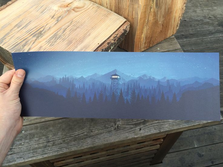 6x 18digital art poster of a lookout tower at night, suitable for framing. Printed in San Francisco, CA. Shipped in a protectivemailing tube.