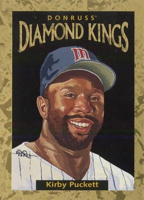 """Kirby Puckett"" for Donruss Diamond Kings baseball card series in 1996 by Dick Perez"