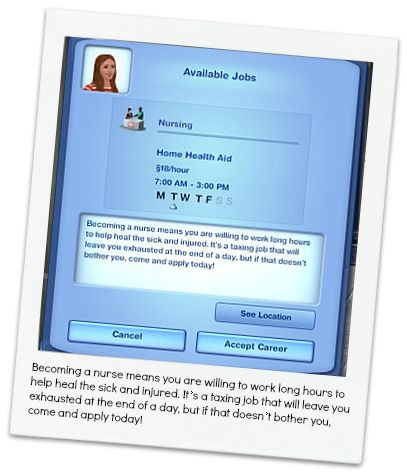 custom sims 3 careers on this site -- nursing career